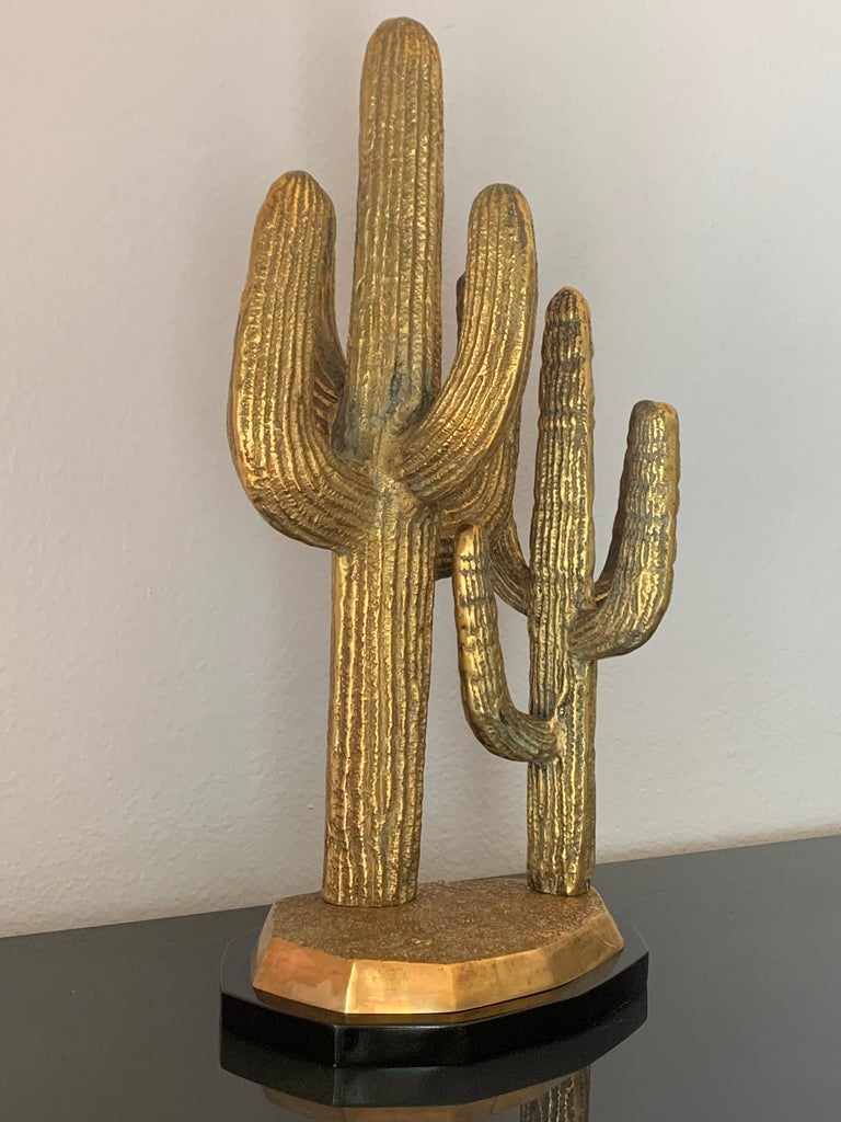 Patinated Large Brass Cactus Sculpture For Sale