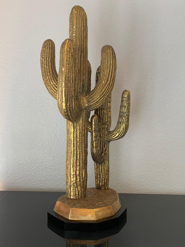 Large Brass Cactus Sculpture In Good Condition For Sale In North Hollywood, CA
