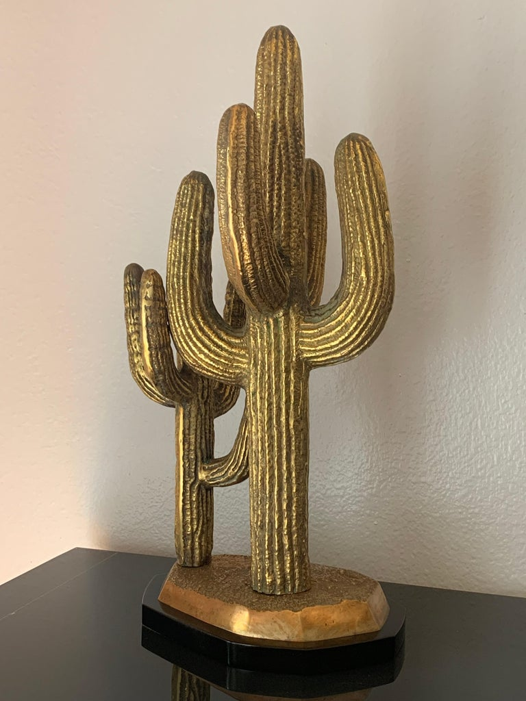 Late 20th Century Large Brass Cactus Sculpture For Sale