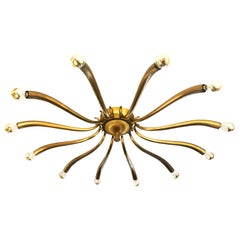 Large Brass Chandelier Attributed to Guglielmo Ulrich