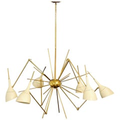 Large Brass Chandelier Attributed to Stilnovo, Italy, 1960s