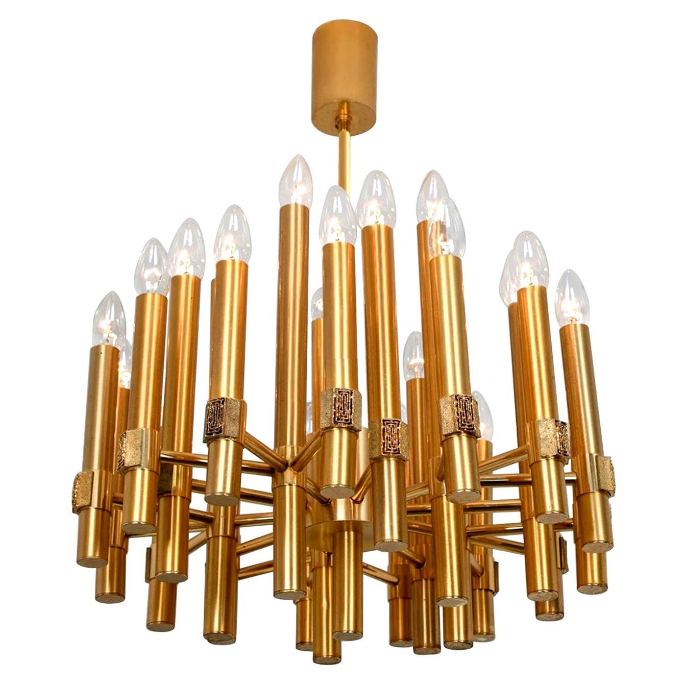 Large Brass Chandelier or Sputnik by Angelo Brotto for Esperia Italia