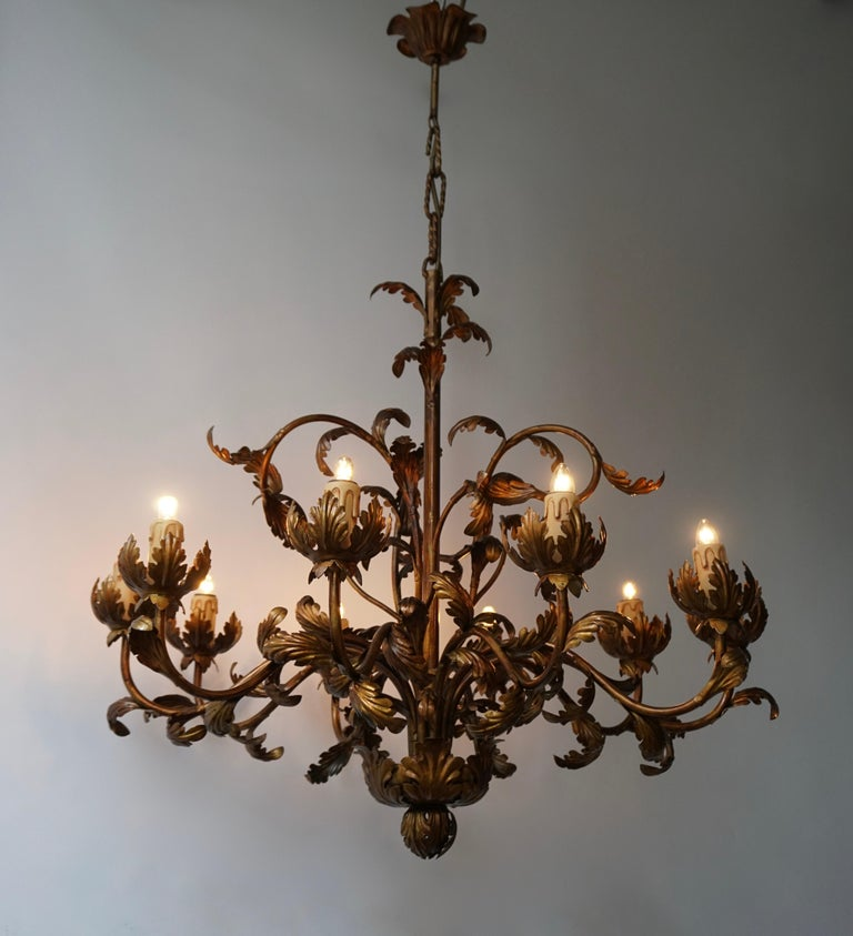 Hollywood Regency Large Brass Chandelier with Leaves For Sale