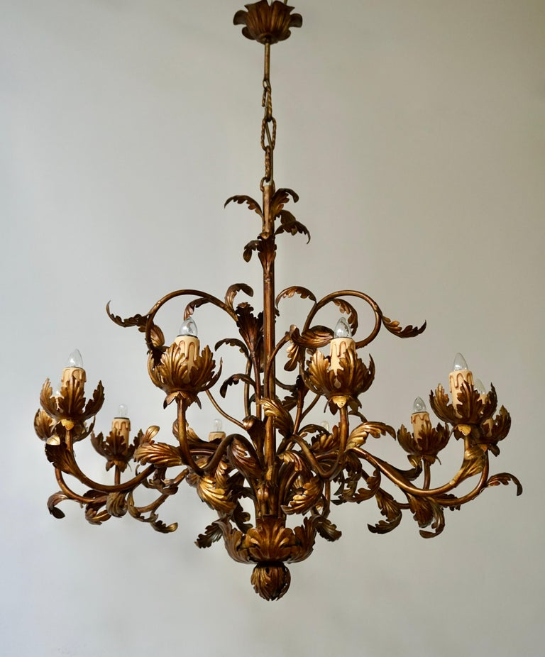 Italian Large Brass Chandelier with Leaves For Sale