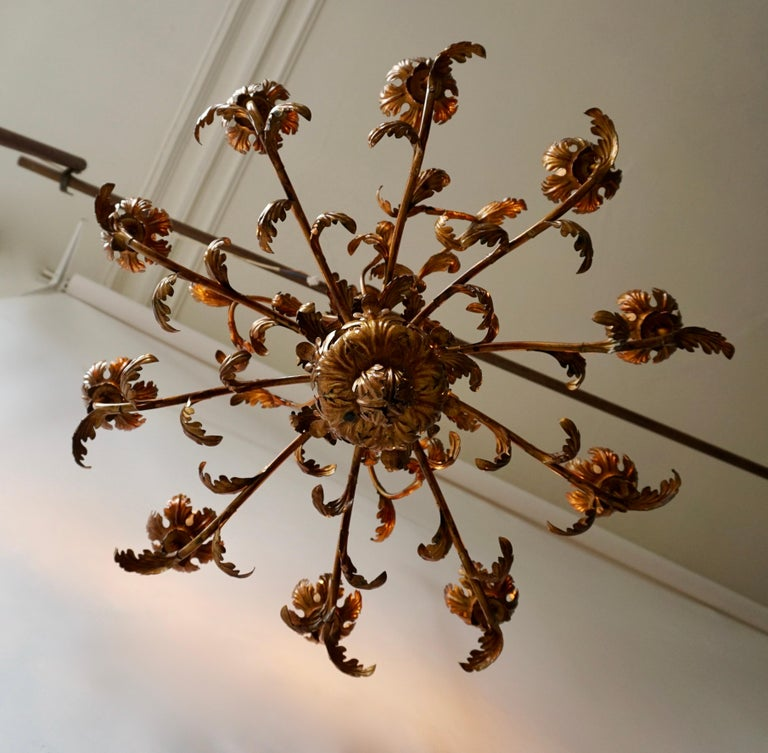 Large Brass Chandelier with Leaves For Sale 1