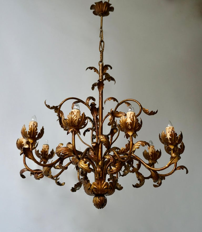Large Brass Chandelier with Leaves For Sale 2