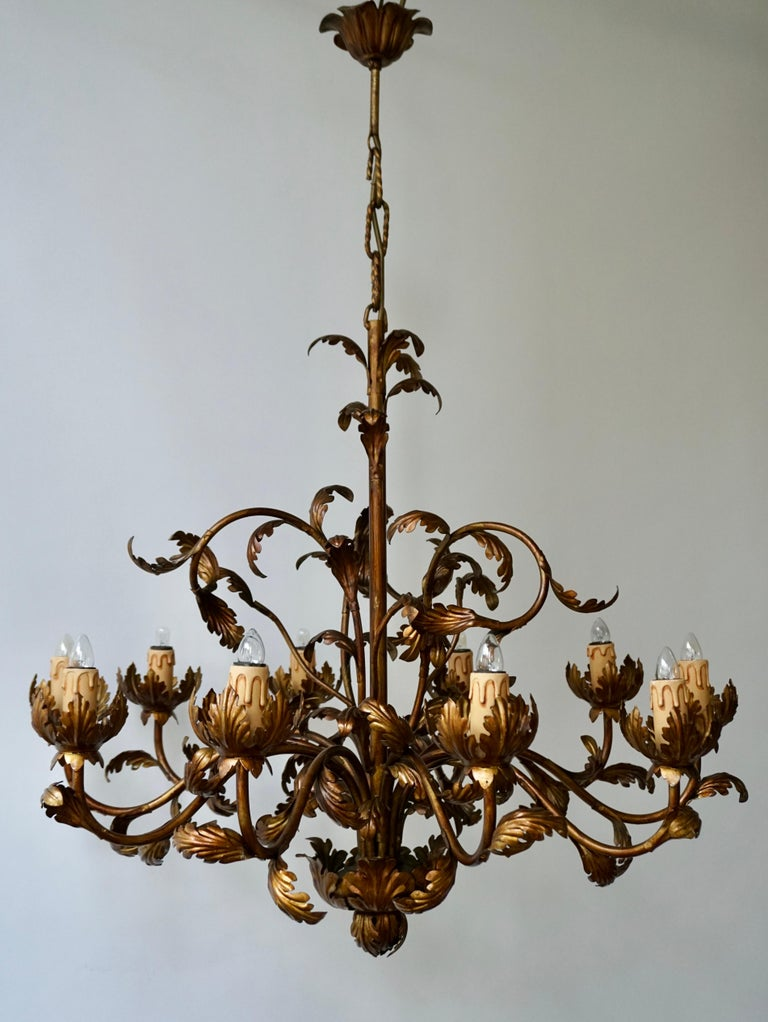 Large Brass Chandelier with Leaves For Sale 3