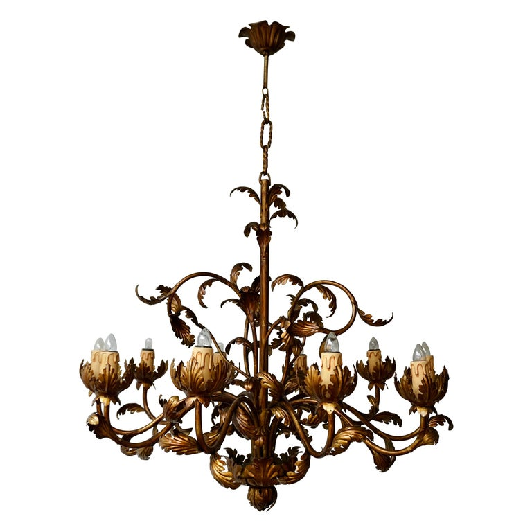 Large Brass Chandelier with Leaves For Sale