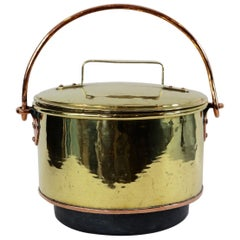 Large Brass Covered Cauldron
