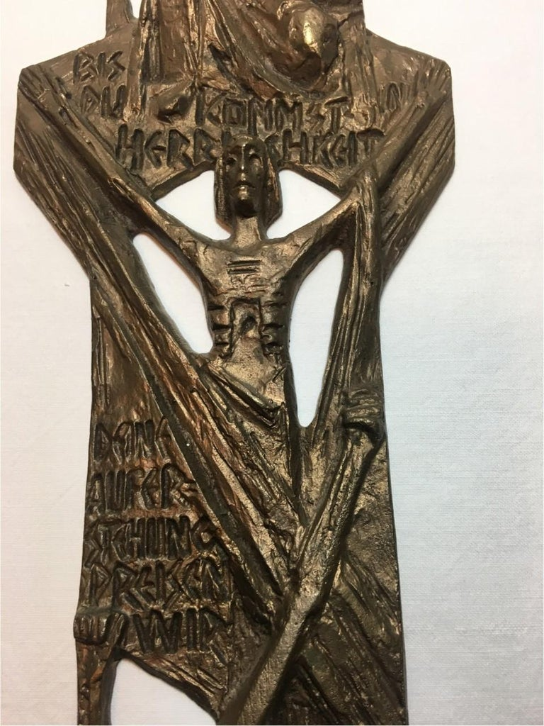 Large Brass Creed in German Inscribed Wall Cross Relief In Good Condition For Sale In Frisco, TX
