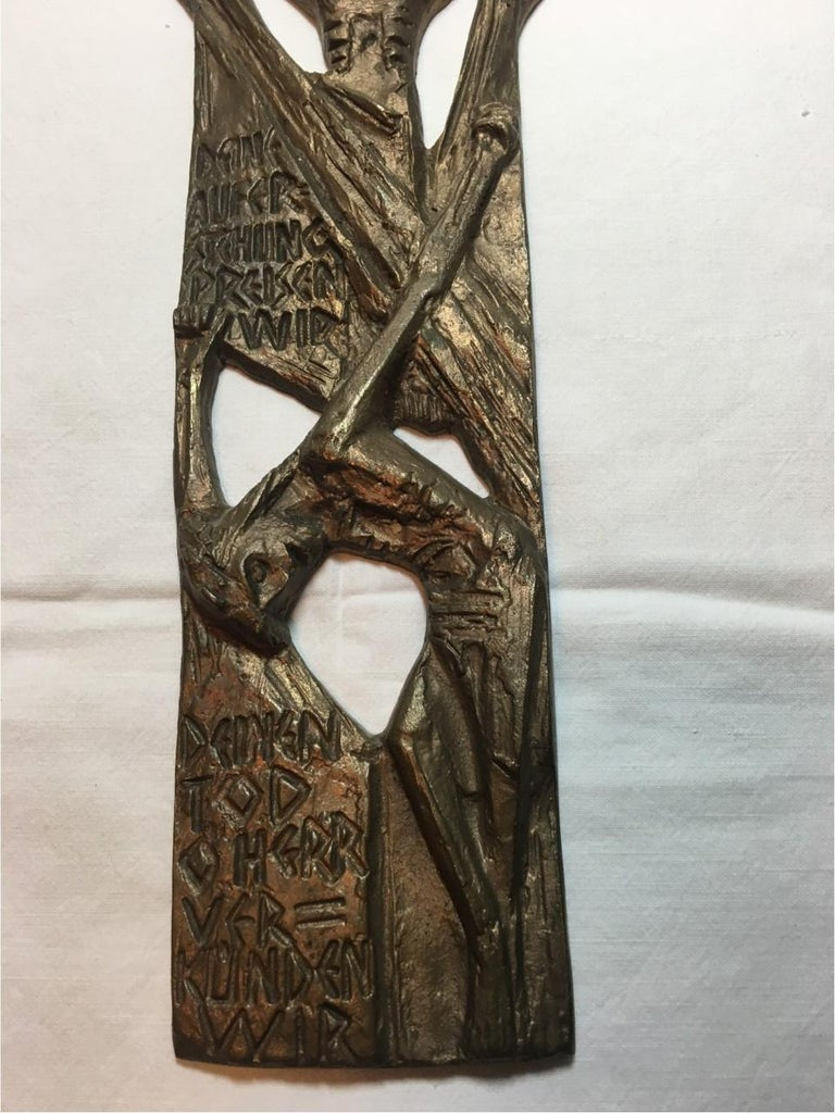 Late 20th Century Large Brass Creed in German Inscribed Wall Cross Relief For Sale