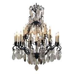 Large Brass Rock Crystal Chandelier