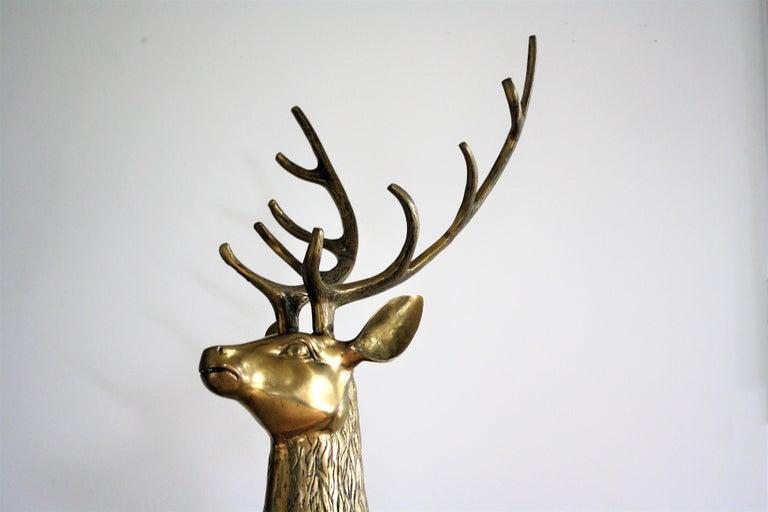 Life-size brass deer sculpture with antlers.  Beautiful original condition, light patina.  Beautiful elegant decorative sculpture.  1970s, Belgium  Dimensions: Height: 160cm/63