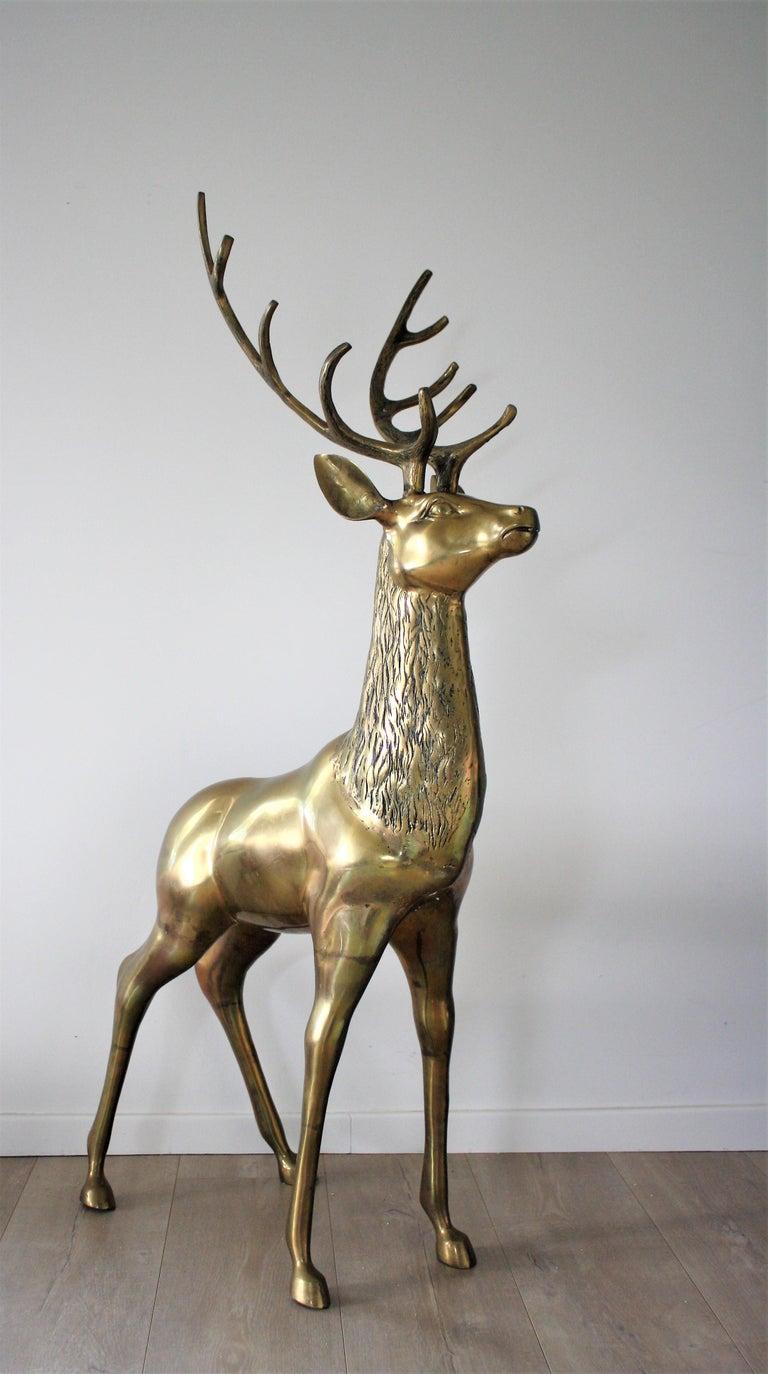 Hollywood Regency Large Brass Deer Sculpture, 1970s