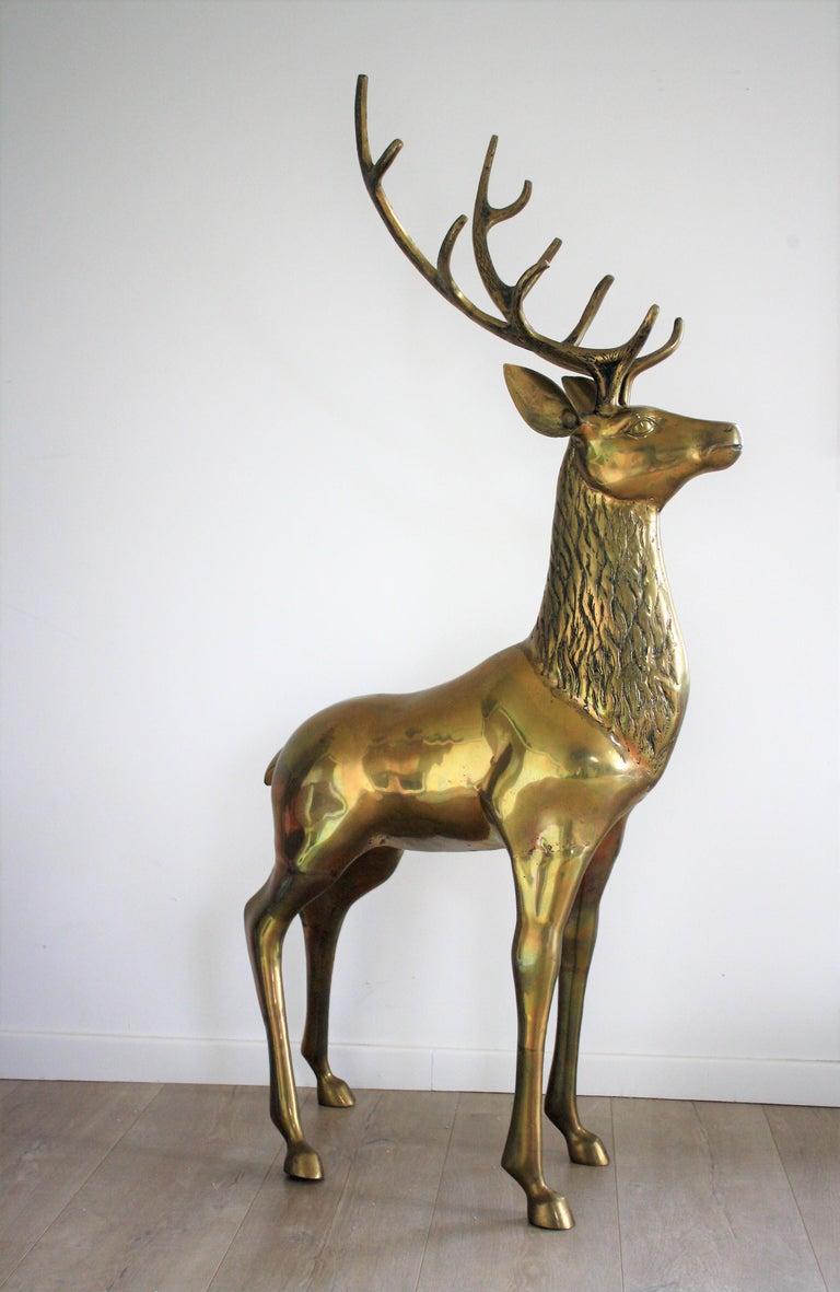 Late 20th Century Large Brass Deer Sculpture, 1970s