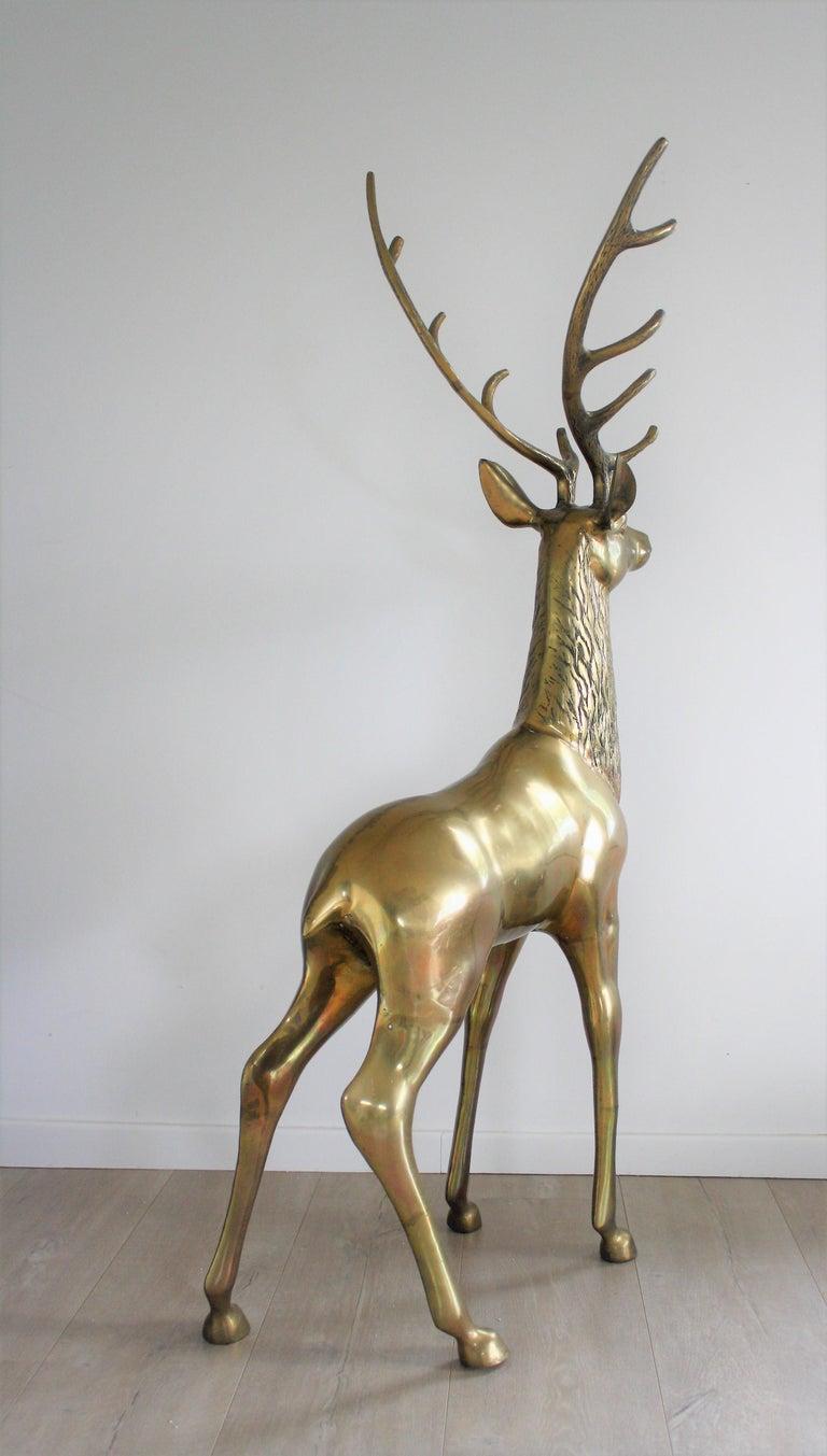 Large Brass Deer Sculpture, 1970s 1