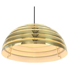 Large Brass Dome Pendant Light by Florian Schulz, Germany