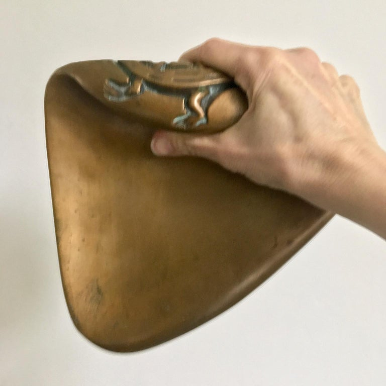 Large Brass Door Handle with Salamander Motif For Sale 5