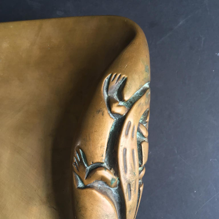 Cast Large Brass Door Handle with Salamander Motif For Sale