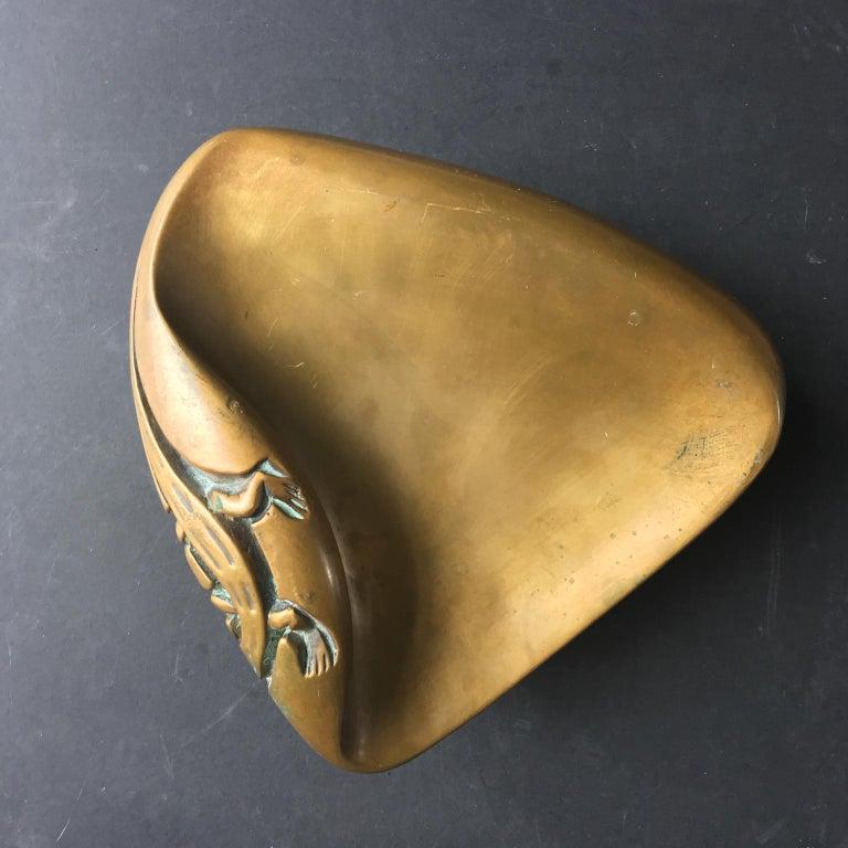 Large Brass Door Handle with Salamander Motif For Sale 2