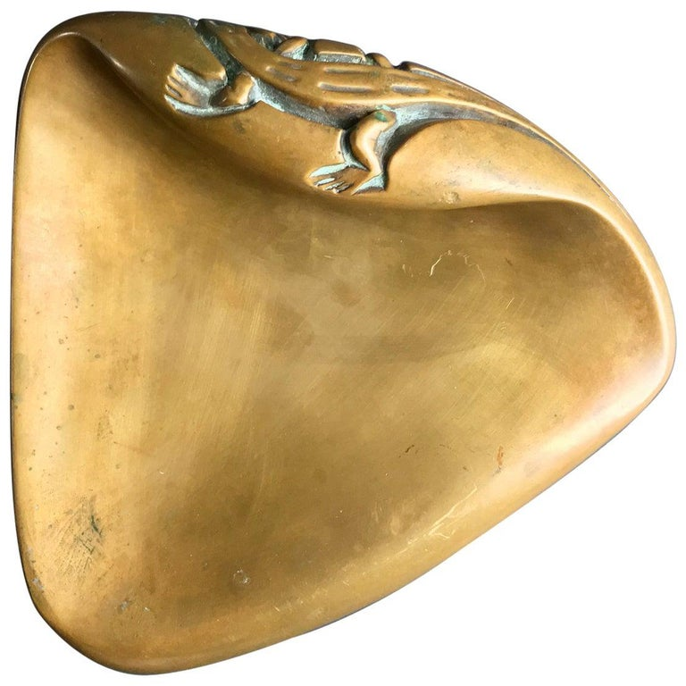 Large Brass Door Handle with Salamander Motif For Sale