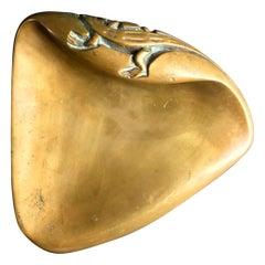 Large Brass Door Handle with Salamander Motif, Mid-20th Century, European