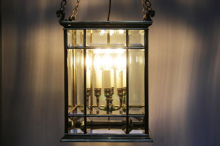 Large Brass Early 19th Century Antique Four Light Square Hall Lantern For Sale 4