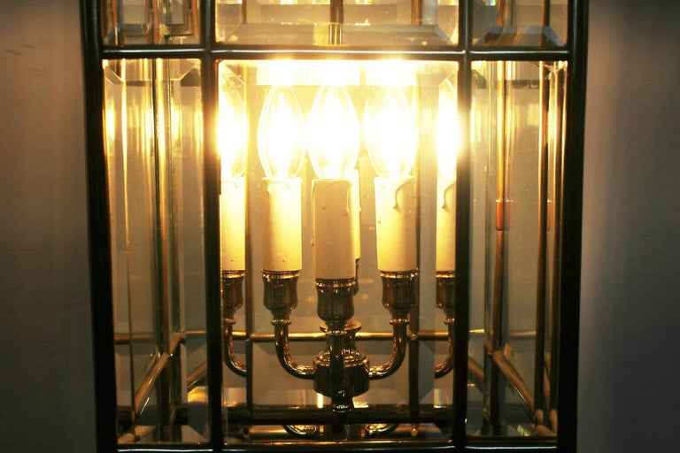 Large Brass Early 19th Century Antique Four Light Square Hall Lantern For Sale 5