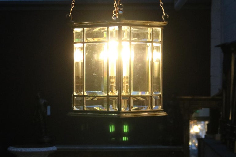 Large Brass Early 19th Century Antique Four Light Square Hall Lantern For Sale 6