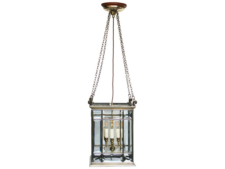 Victorian Large Brass Early 19th Century Antique Four Light Square Hall Lantern For Sale