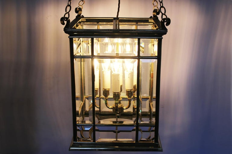 English Large Brass Early 19th Century Antique Four Light Square Hall Lantern For Sale