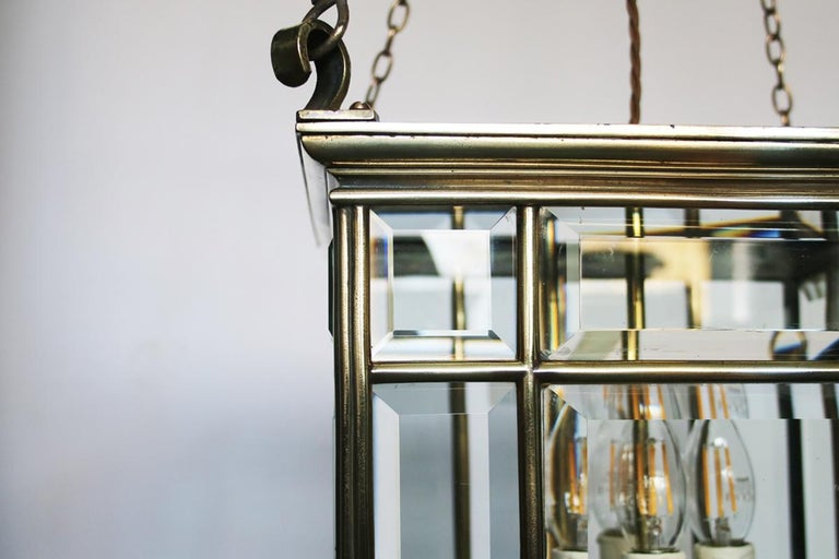 Beveled Large Brass Early 19th Century Antique Four Light Square Hall Lantern For Sale