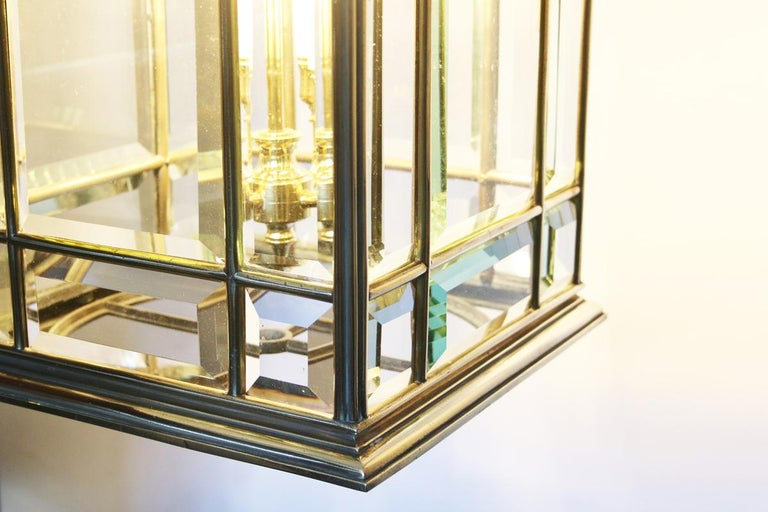 Large Brass Early 19th Century Antique Four Light Square Hall Lantern For Sale 1