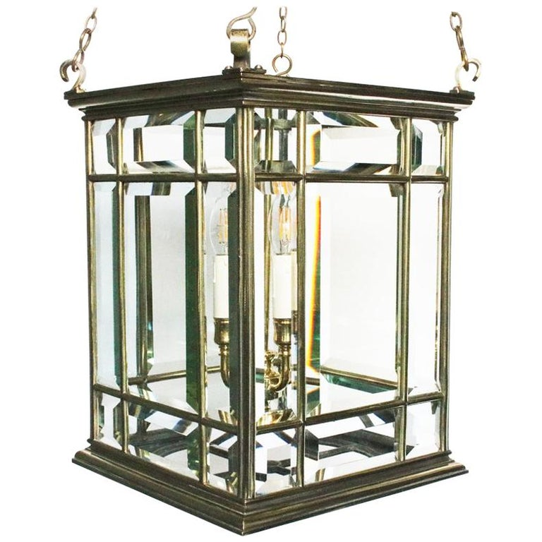 Large Brass Early 19th Century Antique Four Light Square Hall Lantern For Sale
