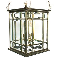 Large Brass Early 19th Century Antique Four-Light Square Hall Lantern