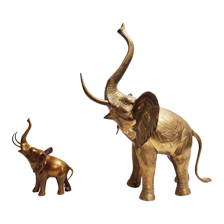 Large Brass Elephant Sculpture, 1970s