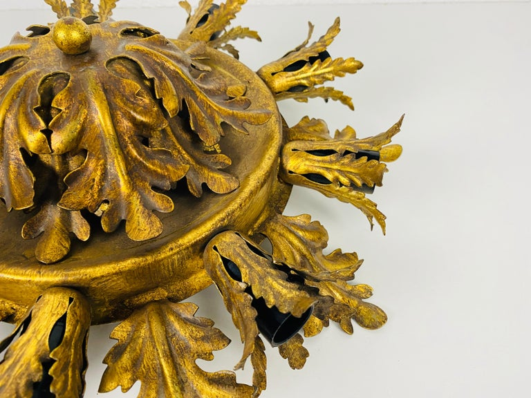 Italian Large Brass Florentine Flower Shape Flush Mount by Banci, Italy, 1950s For Sale