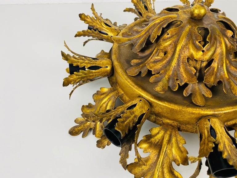 Hand-Crafted Large Brass Florentine Flower Shape Flush Mount by Banci, Italy, 1950s For Sale