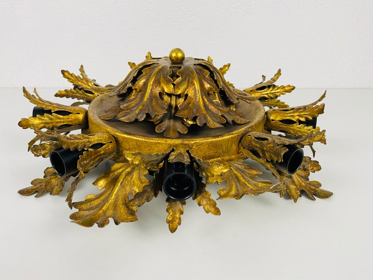 Metal Large Brass Florentine Flower Shape Flush Mount by Banci, Italy, 1950s For Sale