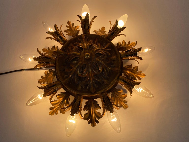 Large Brass Florentine Flower Shape Flush Mount by Banci, Italy, 1950s For Sale 1