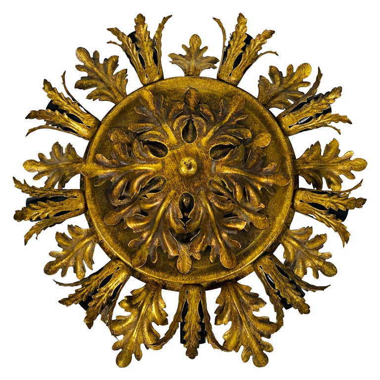 Large Brass Florentine Flower Shape Flush Mount by Banci, Italy, 1950s For Sale