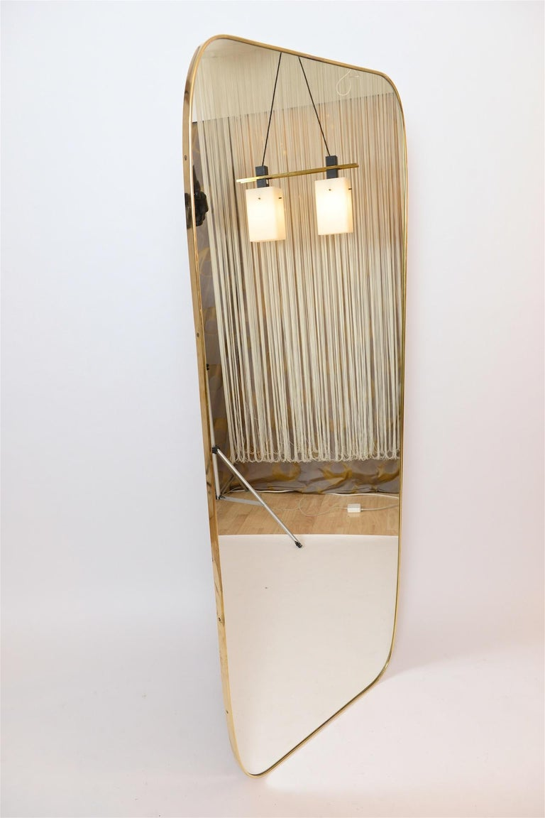 Mid-Century Modern Large Brass Frame Mirror For Sale