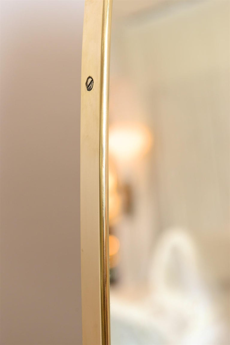 Italian Large Brass Frame Mirror For Sale