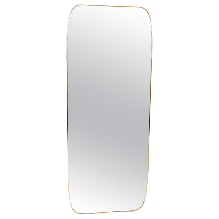 Large Brass Frame Mirror For Sale
