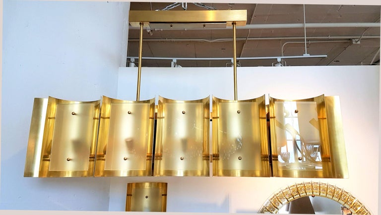 Mid-Century Modern Pair large Brass & Glass Rectangular Chandeliers 12 Lights, Bespoke by D'Lightus For Sale