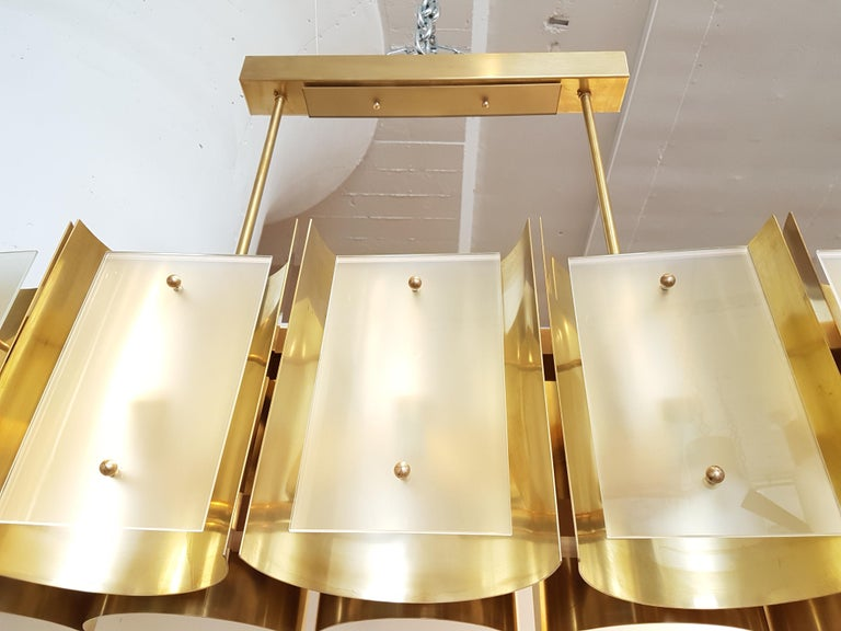 Frosted Pair large Brass & Glass Rectangular Chandeliers 12 Lights, Bespoke by D'Lightus For Sale