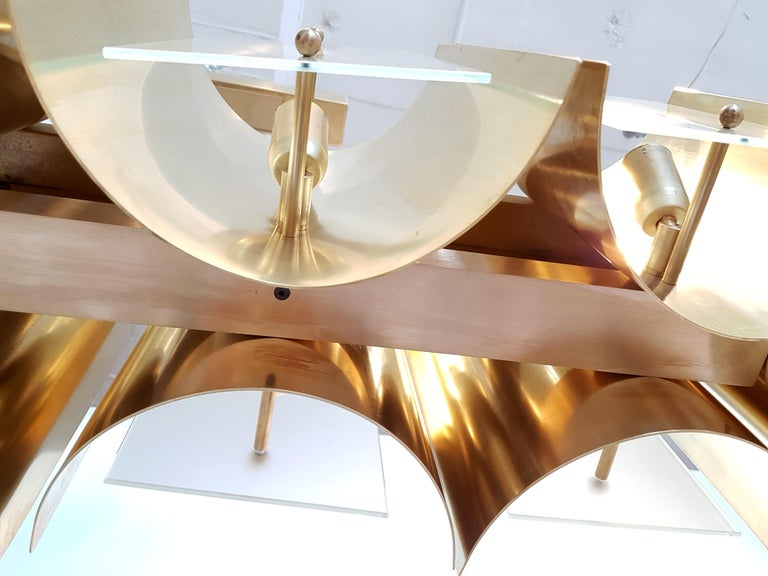 Pair large Brass & Glass Rectangular Chandeliers 12 Lights, Bespoke by D'Lightus In New Condition For Sale In Dallas, TX