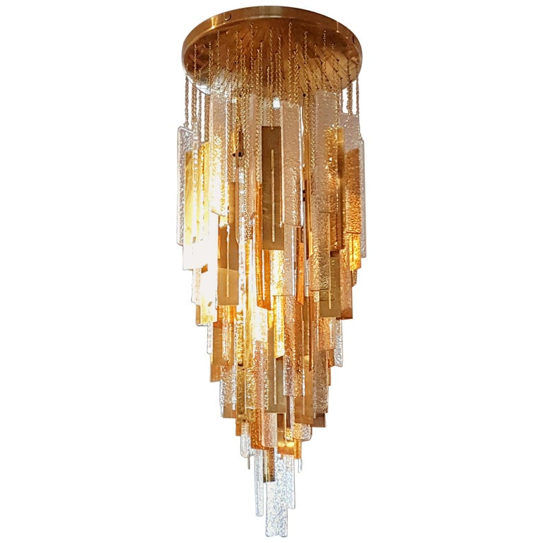 Large Brass Glass Pendant Mid Century Modern Chandelier By Sciolari 1960s