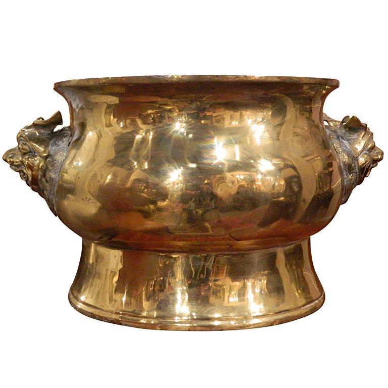 Large Brass Jardiniere in an Asian Motif, 19th Century
