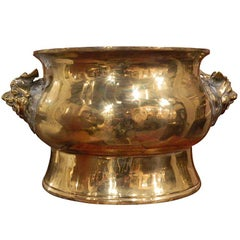 Large Brass Jardiniere in an Asian Motif, 19th Century
